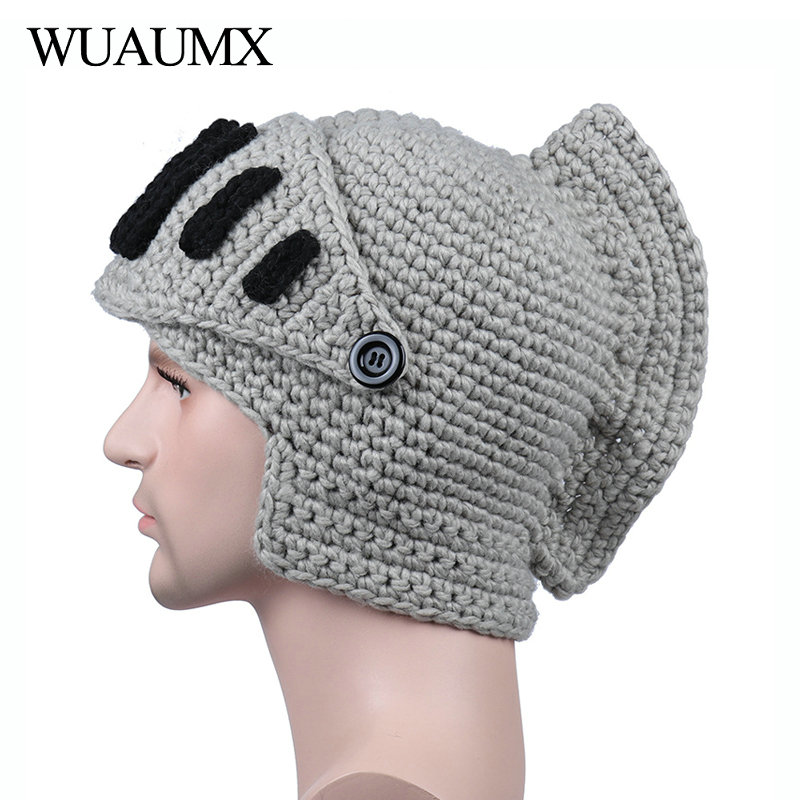 Wuaumx Novelty Roman Hat Winter Beanie Hats For Men Warm Mask Knight Helmet Knitted Cap Handmade Gladiator Mask Hat Czapka Zimow