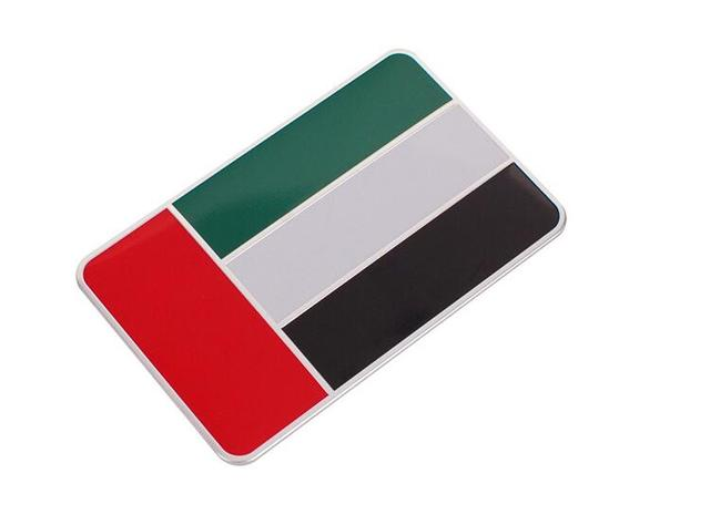 20pcs aluminum united arab emirates flag car stickers emblems decorations national flags logo car exterior decals