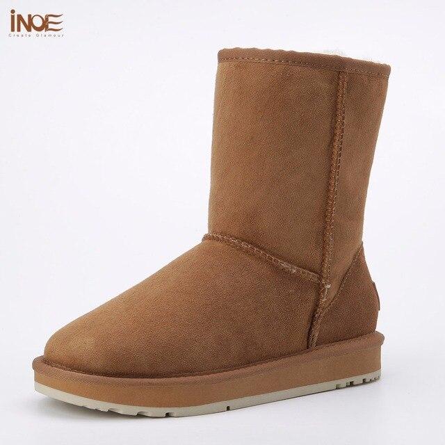 Inoe/из овечьей кожи замшевые зимние ботинки для женщин реального овечья шерсть подкладке зимняя обувь высокое качество серый черный 35-44