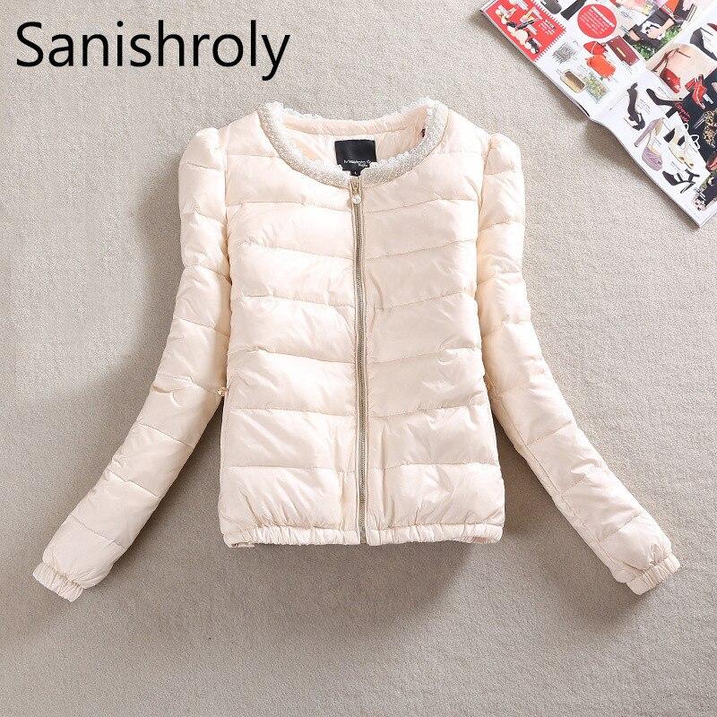 Sanishroly 2019 New Ultra Light Down Coat Parka Women White Duck Down Jacket Female Beading Short Outerwear Tops Plus Size SE426