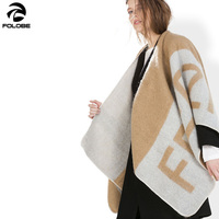 Winter fashion letter free printted poncho scarves for women cashmere blanket scarf lady thick warm shawl wraps brand cape