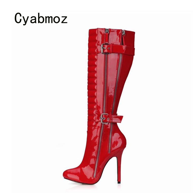 Cyabmoz Women Shoes Woman Knee High Heels Winter Boots Zip Buckle Ladies Party Wedding Shoes Zapatillas Botas Zapatos MujerCyabmoz Women Shoes Woman Knee High Heels Winter Boots Zip Buckle Ladies Party Wedding Shoes Zapatillas Botas Zapatos Mujer