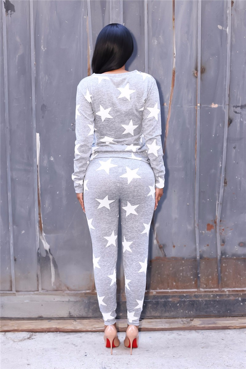 stars printed women autumn tracksuits -5