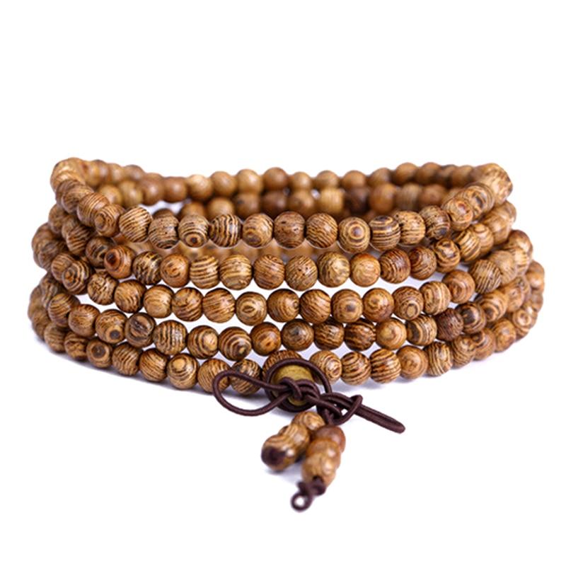 Mala pulseira de oração 108 contas de madeira mais recente wenge budista tibetano buda pulseira rosário madeira pulsera hombre