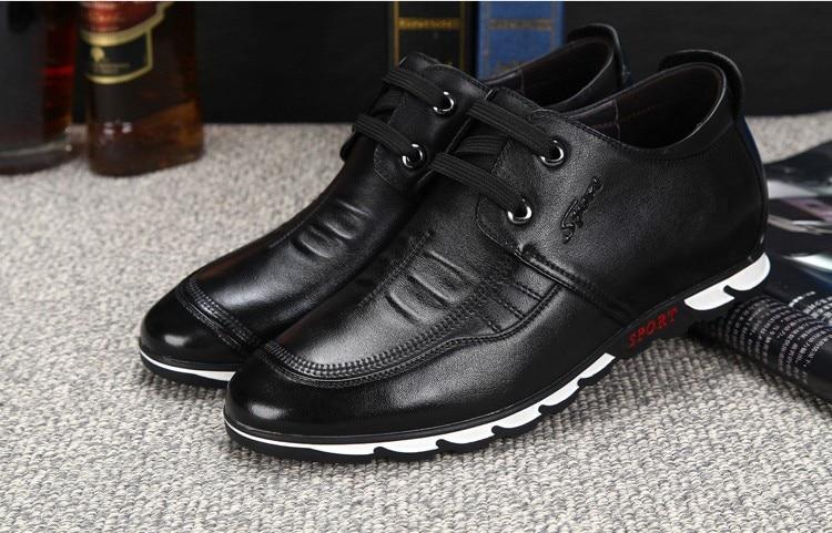 Ferse Männer Versteckte Cm Echtes Flache Mode brown Zunehmende Schuhe Oxfords Mit Leder Turnschuhe Höhe Komfortable 6 Casual Black g6S07twq7