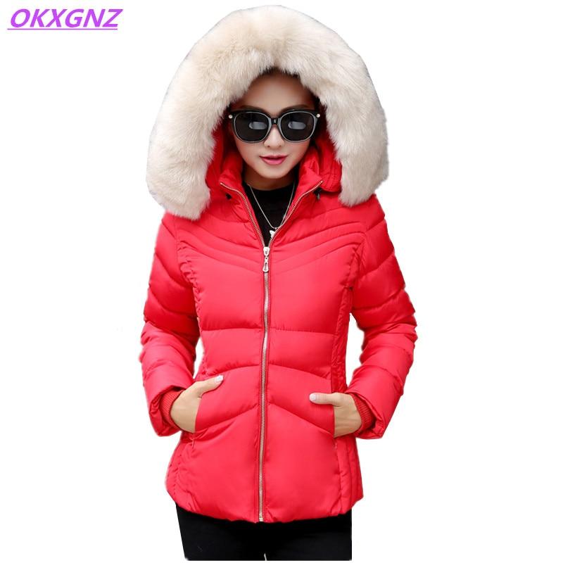 OKXGNZ Winter Women Cotton Jacket Coat 2017 Korea New Warm Short Coat Hooded Fur Collar Costume