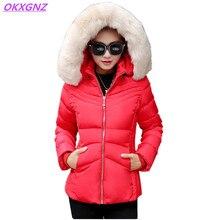 OKXGNZ Зима Женщины Хлопок Пальто Куртки 2017 Корея Новая Теплая Короткая пальто С Капюшоном Меховой Воротник Костюм Плюс размер Женщин Основной Пальто A041