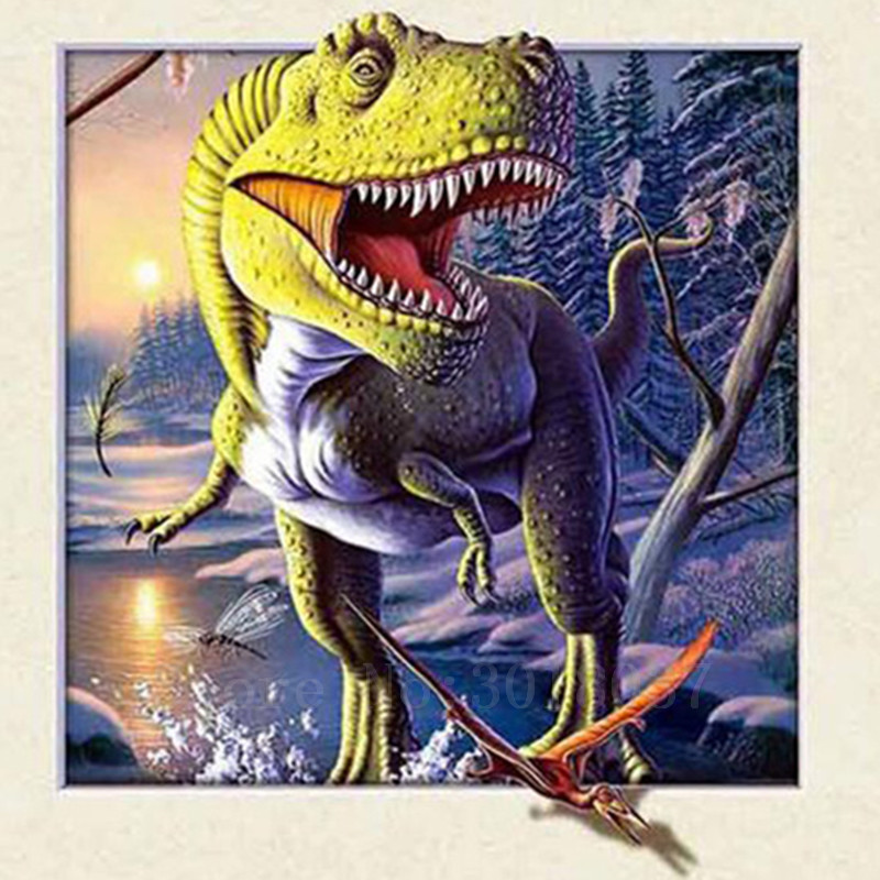 Diy 5D ציור יהלומי תפר צלב דינוזאורים - אומנויות, מלאכת יד ותפירה