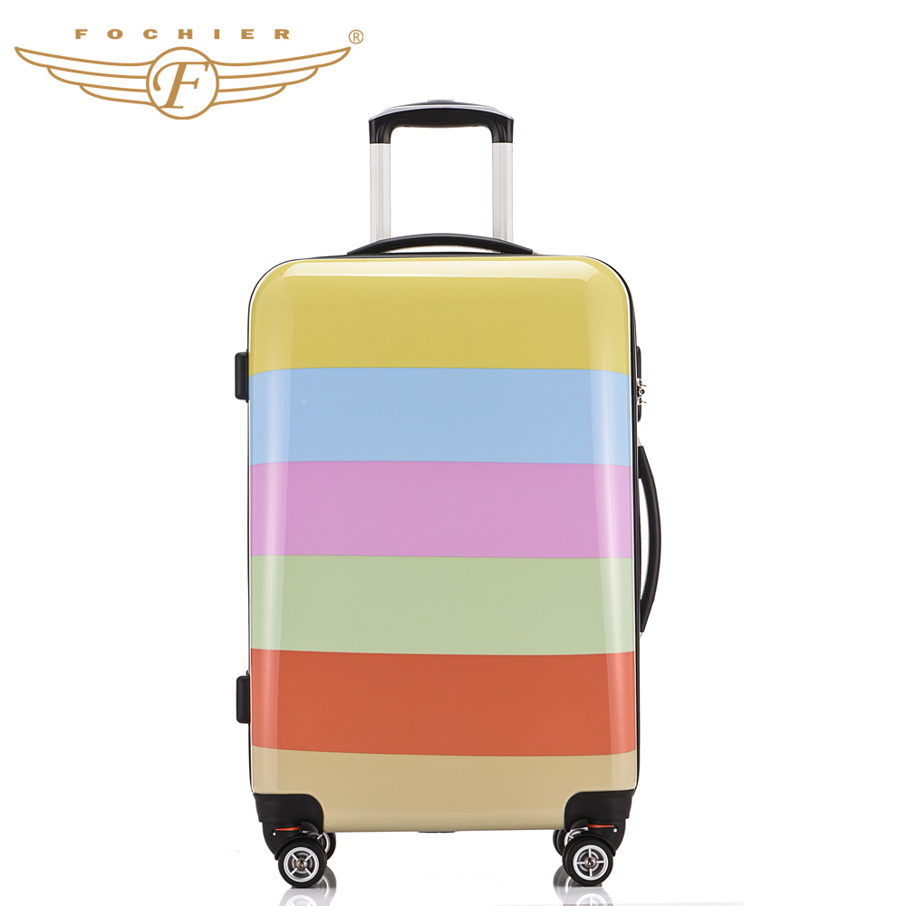 Hard Shell Pressure resistant Rolling Travel Luggage Suitcase ABS PC Rainbow Printing Cabin Case 20 24