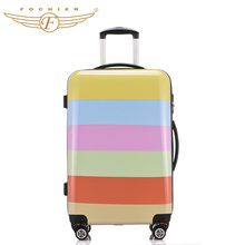 Hard Shell Pressure-resistant Rolling Travel Luggage Suitcase ABS+PC Rainbow Printing Cabin Case 20″ 24″ Inches 2016 New Fochier