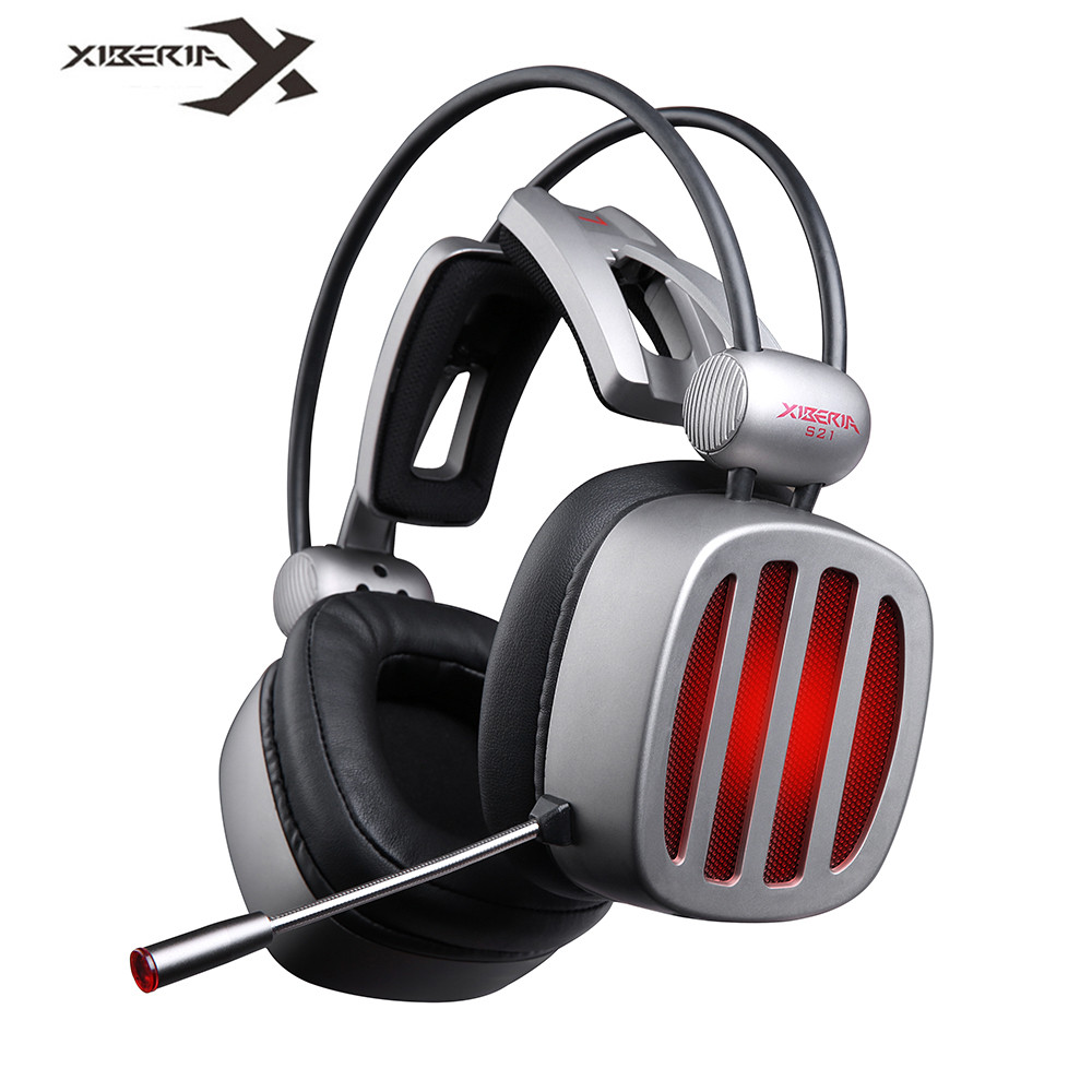 XIBERIA S21 USB Surround Stereo Pro Gaming Headphones Headsets With Mic Noise Cancelling LED Deep Bass PC Gamer Headset casque xiberia k9 usb surround stereo gaming headphone with microphone mic pc gamer led breath light headband game headset for lol cf