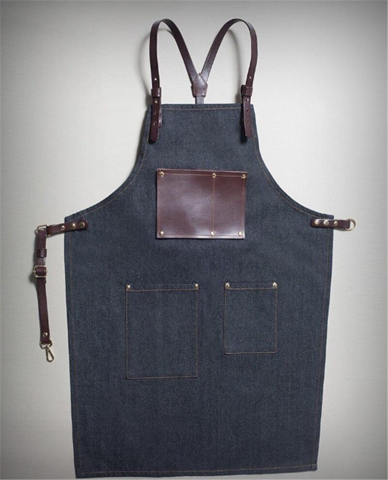 Джинсовый Кухонный Фартук с регулируемым хлопковым ремнем, большие карманы, синий бариста, мужская и женская домашняя одежда