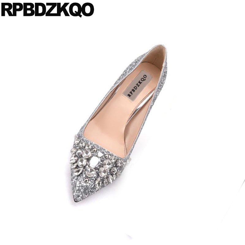2018 High Heels Thin Silver Rhinestone Bride Shoes Glitter Pointed Toe Size 4 34 Jewel 33 Crystal Bridal Ladies Pumps Medium crystal wedding shoes women red rhinestone suede jewel pointed toe high heels black size 33 ankle strap super pumps bride thin