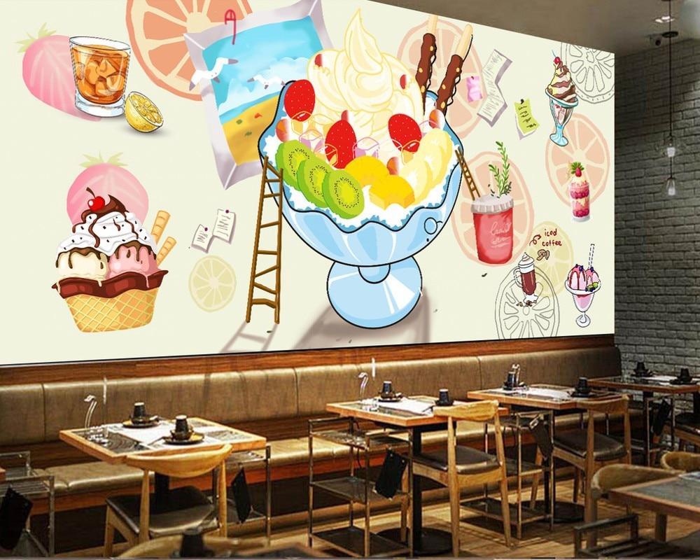 送料無料アフタヌーンティー装飾フォト壁紙ハンド塗装水彩冷たいドリンクケーキショップ壁カスタム3dカフェ壁画 壁紙 Aliexpress