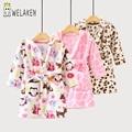 Welaken 2017 batas para 2-8yrs niños bebé suave de los niños pijamas de las muchachas de la historieta ropa de noche albornoces niños encapuchados trajes del bebé