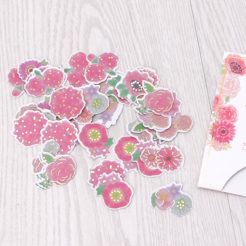 Japanese Style Golding Flowers Decorative Label Diary Stationery Album Stickers in Stationery Stickers from Office School Supplies