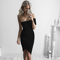 CIEMIILI New Summer 2018 Women Bandage Dress Evening Party Sleeveless One Shoulder Bodycon Dress Knee Length Slash Neck Vestidos
