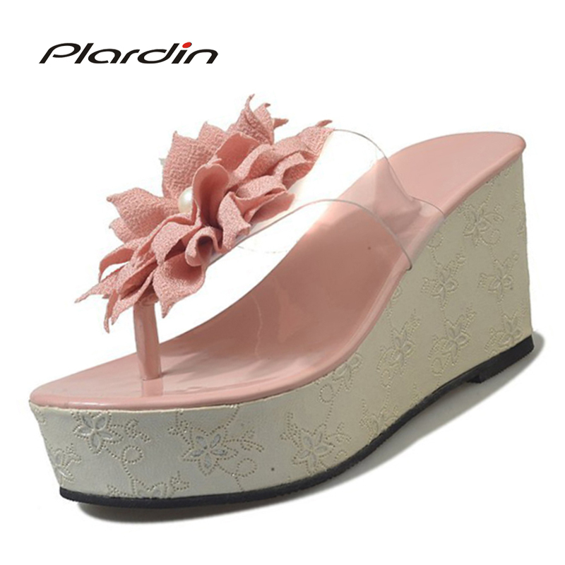 Plardin 2018 Bohemia Summer Casual Women's Flat Platform Sandals Crystal Wedges Beach Sandals Shoes Woman fashion sexy pumps new women sandals low heel wedges summer casual single shoes woman sandal fashion soft sandals free shipping