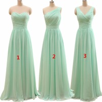 New Arrival Three Styles A Line Mint Green Long Chiffon A Line Pleated Bridesmaid Dress 2016