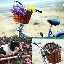 Bon plan panier vélo Vintage en osier marron sangle réglable vélo/Cycle/Shopping