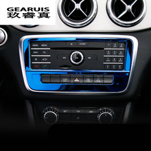 Car-styling stainless steel Control air conditioning CD panel decorative cover trim for Mercedes Benz GLA X156 CLA C117 A Class