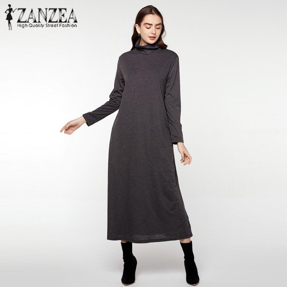 buy online e70d9 2882b ZANZEA Autunno Inverno Maxi Vestiti Lunghi Delle Donne di ...
