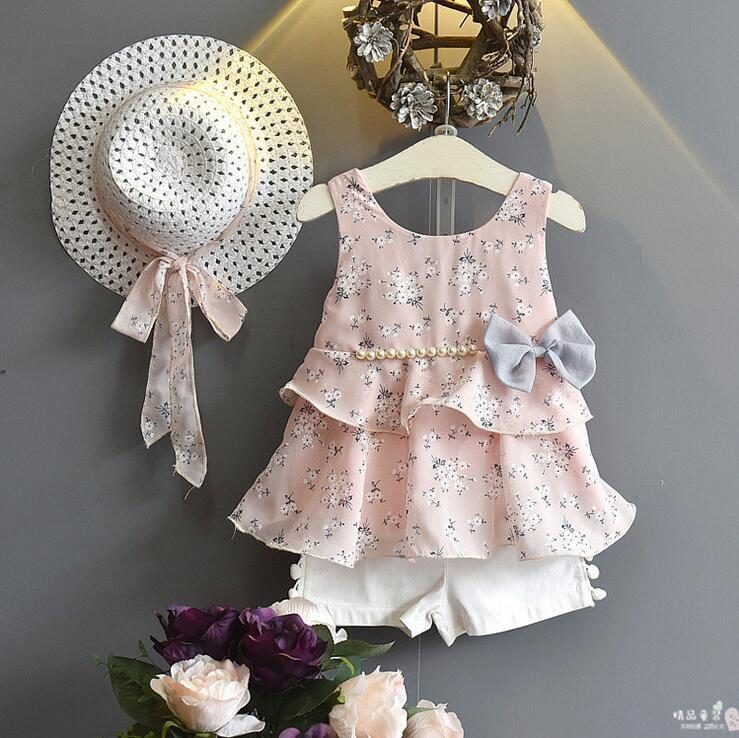 Wholesale Lots Bulk Clothes 2018 Kids Girls Clothes Set Baby Girl Floral Tank Top And White Shorts Kids Fashion Ruffle Outfits