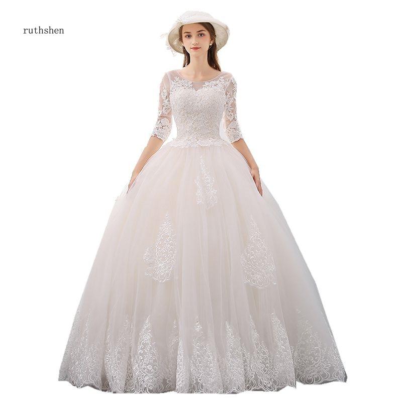 Vestido De Noiva 2018 Princess Wedding Dress Ball Gown Off: Ruthshen Vintage Wedding Dresses 2018 Half Sleeves Vestido