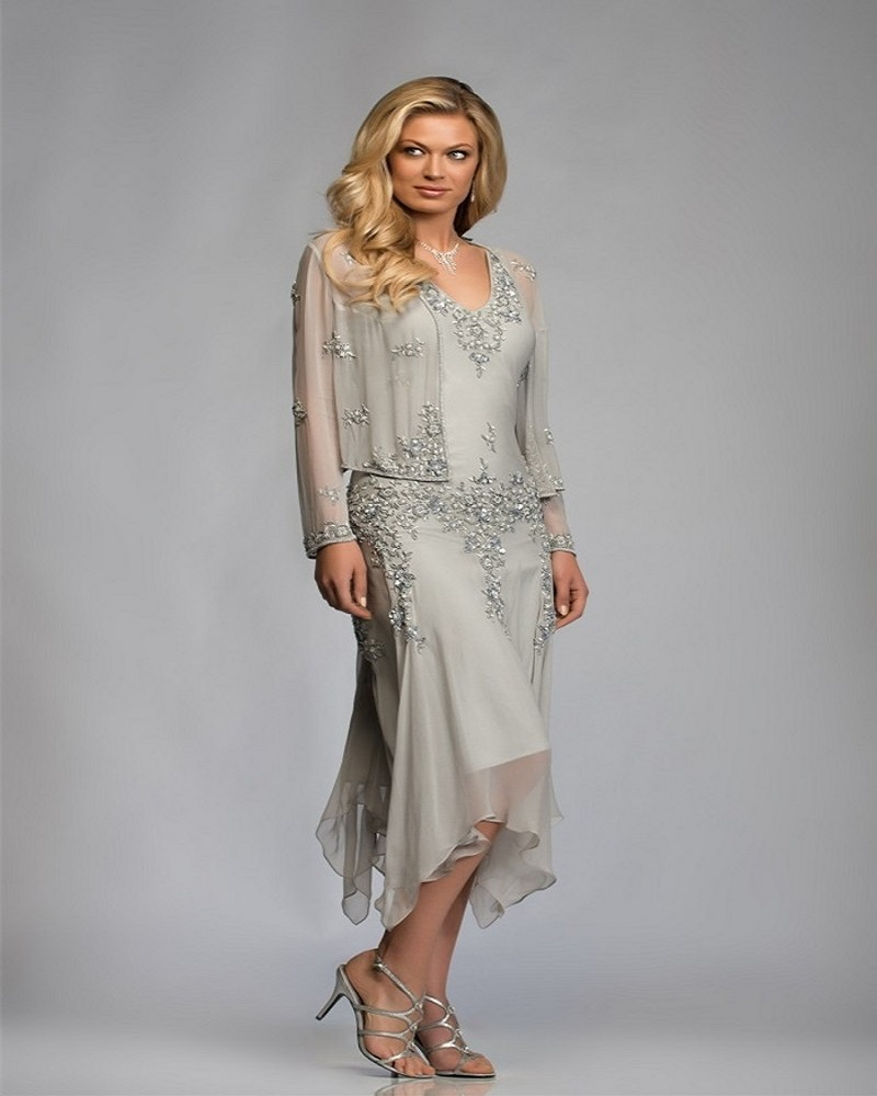 Gorgeous Silver Chiffon Appliques Lace Tea Length Mother Of The Bride Dresses With Jacket Pant Suits