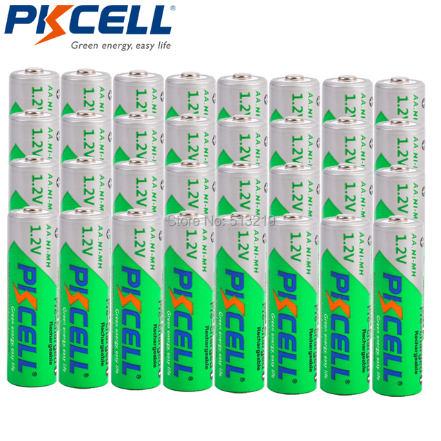 32 x PKCELL AA 2200MAH 1.2V Ni MH 2A Rechargeable Batteries LSD 2.2Ah  Low Self Discharge aa  battery recharge batteria