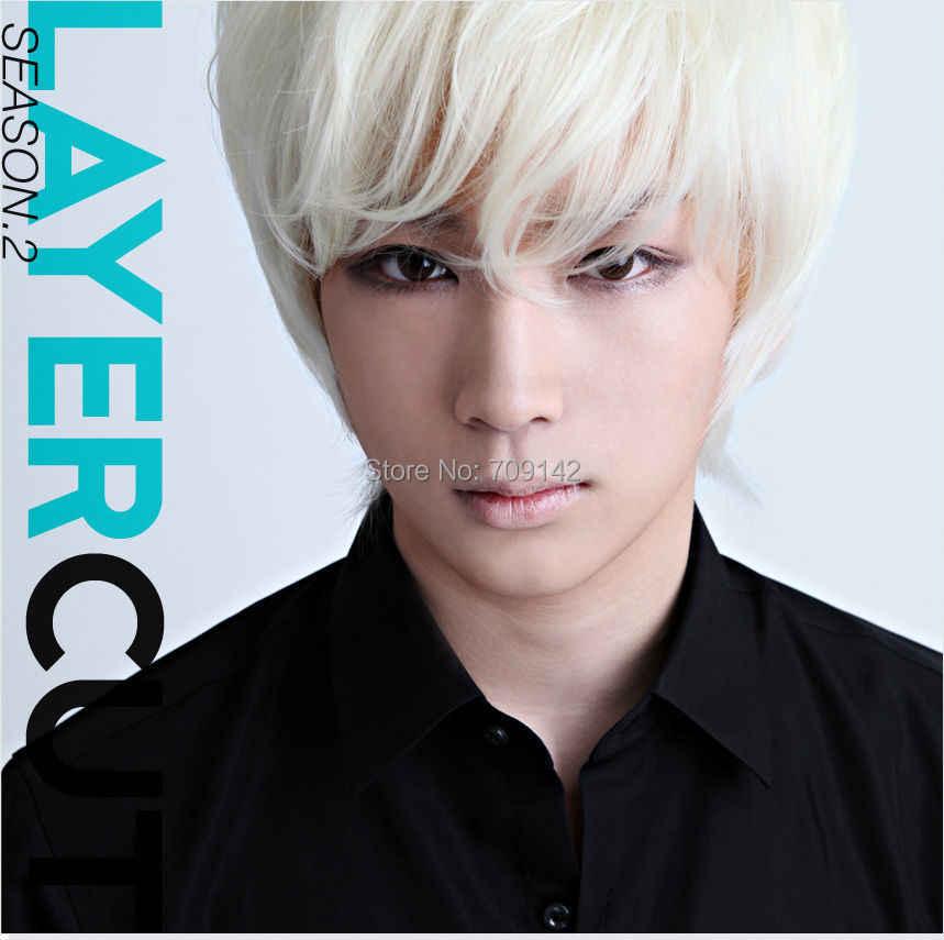 Красивый парик для мальчиков, корейская мода, сексуальные мужчины, короткие белые волосы, косплей, парики, королева, бразильский, без шнурка, передние парики