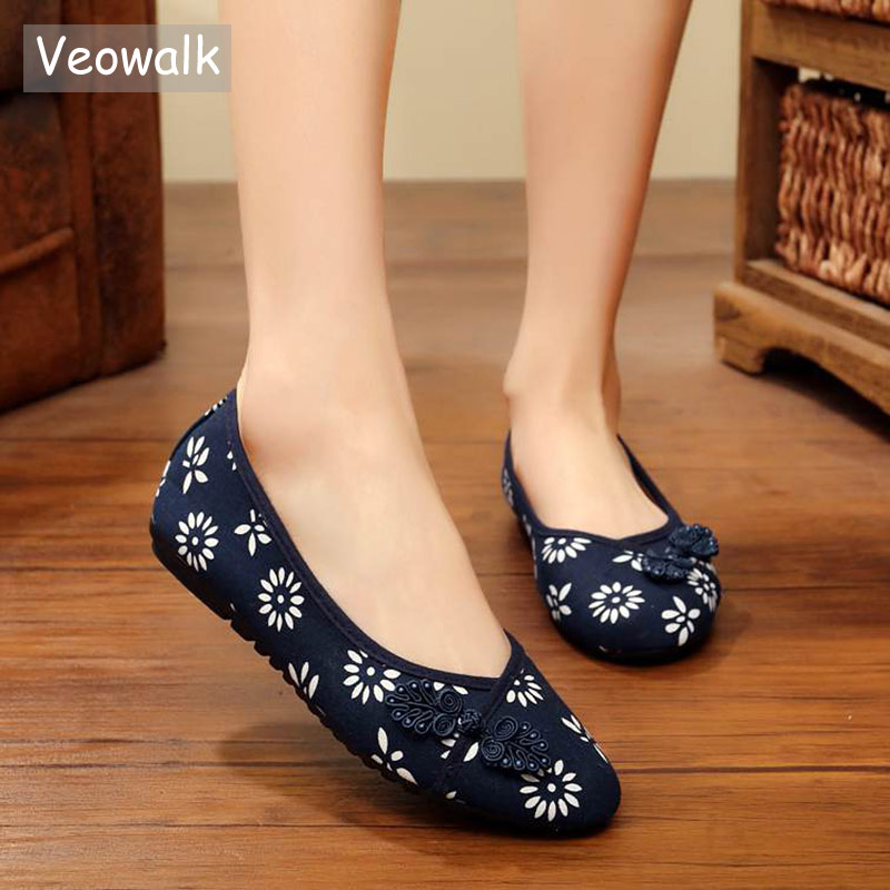 Veowalk Sunflower Printed Women Slip on Cotton Textile Ballet Flats Chinese Lucky Knot Retro Ladies Casual Canvas Dance Shoes knot hem printed tee