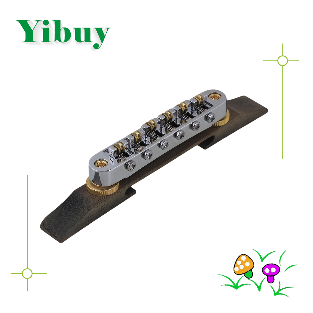 Yibuy Chrome Plated Jazz Electronic Guitar Bridge Tailpiece with Gold Roller Saddle диски helo he844 chrome plated r20
