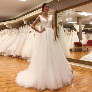 Image 1 - LORIE Beach Wedding Dress 2019 With Sashes Puff Tulle Princess Vintage Bridal Dress V Neck Wedding Gown