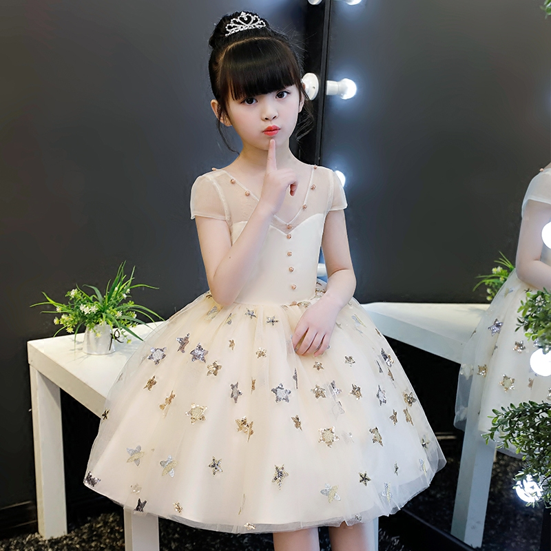 2018 winter children girl star detail dress for girls prom princess dress kids baby gifts party clothes fancy teenger frocks pearl detail hollow panel dress