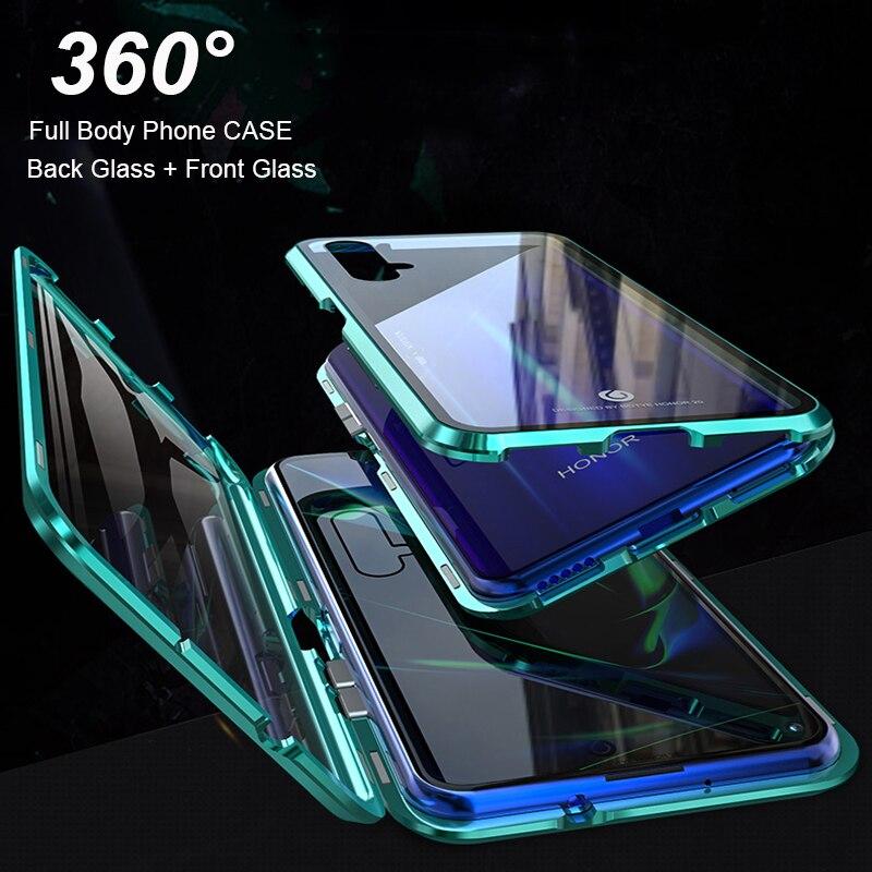 Caixa magnética de corpo inteiro para huawei nova 5 t caso honra 20 lite 20 s 20i 10i caso capa frontal + traseira duro temperado casos de vidro sacos