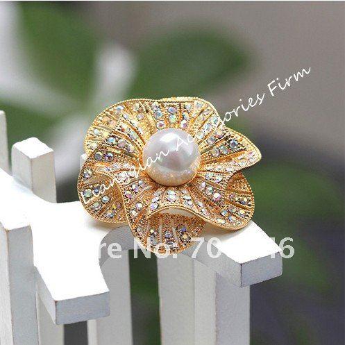 Красивый прозрачный с горным хрусталем белый искусственный жемчуг центр цветок Свадебная букетная брошь