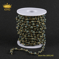 5meters Frosted Glass Faceted Rondelle Beads Chains,4x6mm Matted Yellow Green Glass Plated Bronze Links Glass Chain Bulk ZJ206 1