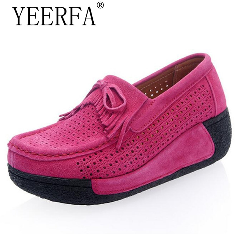 YIERFA Flats Women 2017 Summer style New Cow Suede Casual Women Slip On hollow out Loafers Women Flat Shoes Plus Size 35-40 summer slip on shoes women oxfords shoes loafers flats woman casual flat shoes high quality plus size 35 40