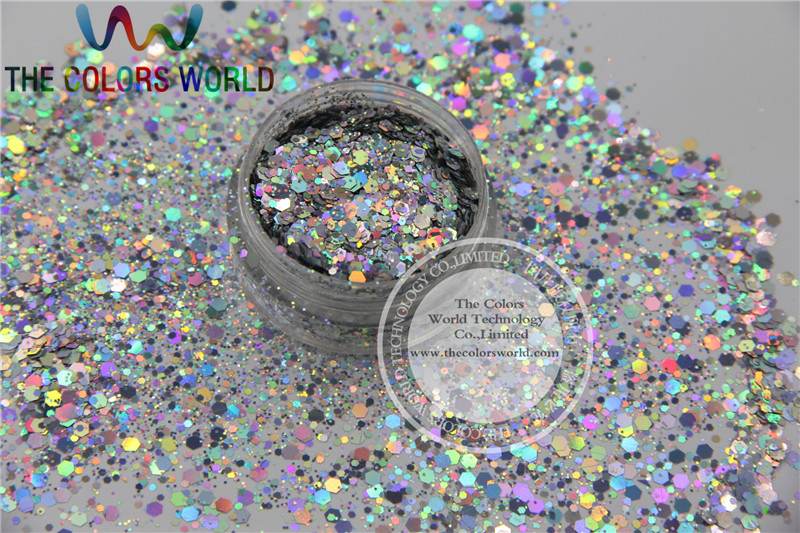 H1214-117 Solvent Resistant Holographic Silver Colors Hexagon shape Glitter for Nail Polish Acrylic and DIY supplies tcf510 solvent resistant neon rose carmine color mickey mouse shape spangles for nail polish and other diy decoration1pack 50g