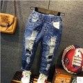 2016 calças de brim das crianças na primavera e no Outono Nova Coreano crianças meninos jeans rasgado crothet bebê calças de lazer da moda