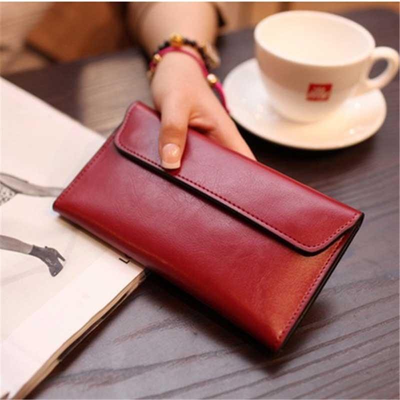 Luxury Brand Genuine Leather Wallet Women Long Cowhide Phone Purse Pocket Card Holder Wallets Women Money Bag Ladies Clutch W077
