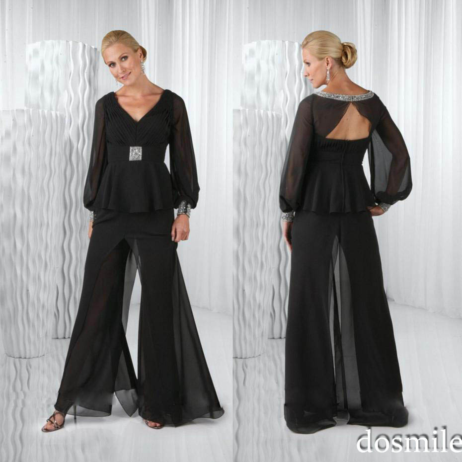 Plus Size 2016 Black Chiffon Mother Of The Bride Pant
