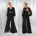 Plus size 2016 preto Chiffon mãe da noiva Pant ternos mangas compridas decote em V Backless verão barato mãe longos vestidos de noite