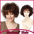 Медуза продукты волос: Синтетические пастельные парики для женщин Современные Средней Длины Волнистые Шаг стилей коричневый парик с челкой SW0012