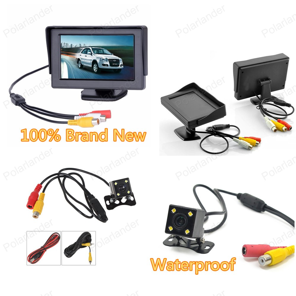 4.3 inch Color LCD Car Monitor switching video 4 LED backlight display with 2 VA input reverse parking camera