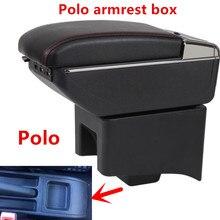 Чехол для подлокотника автомобиля для VW Polo, подлокотник для центрального магазина, коробка для хранения с подстаканником, пепельницей