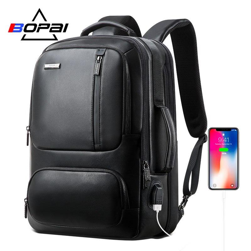 BOPAI Genuine Leather Backpack Men Laptop Backpack for 15 6 Inch USB Charging Port Enlarge Business