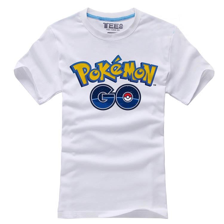 2016 Game Pokemon Go Short Sleeve Cotton Unisex O-Neck Printing Pattern White T-shirts Tee Shirts Tops