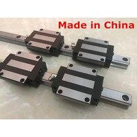 15MM 2pcs linear rail 600 650 700 750 800 850 mm HGR15 cnc parts and 4pcs HGW15CA or HGW15CC linear guide rails block HGW15CC